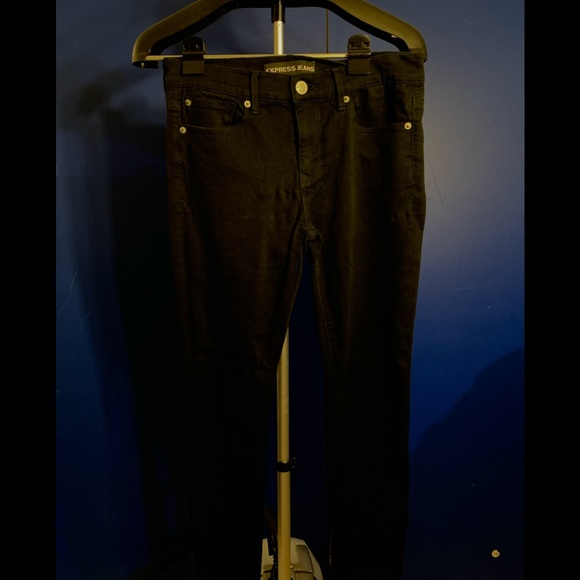 Express Denim - Express Jeans black Legging mid rise 6 short